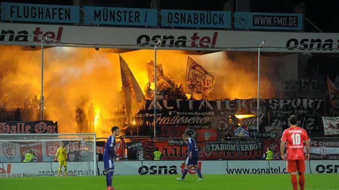 Fans aus Halle zündeten im Gästeblock Pyrotechnik