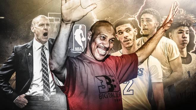 LaVar Ball (2.v.l.) sorgt mit seinen Aussagen für Empörung in der NBA
