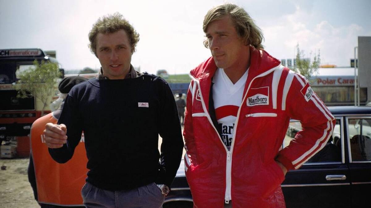 Jochen Mass (l.) war in der Formel 1 Teamkollege von James Hunt