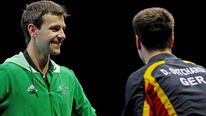 Timo Boll und Dimitrij Ovtcharov waren in Hamm Gegner, bei Olympia Teamkollegen