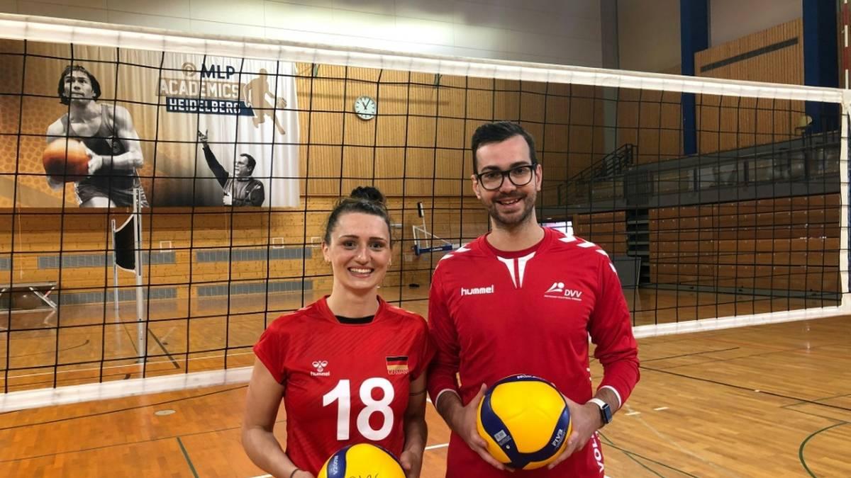Magdalena Gryka und Rote-Raben-Coach Florian Völker