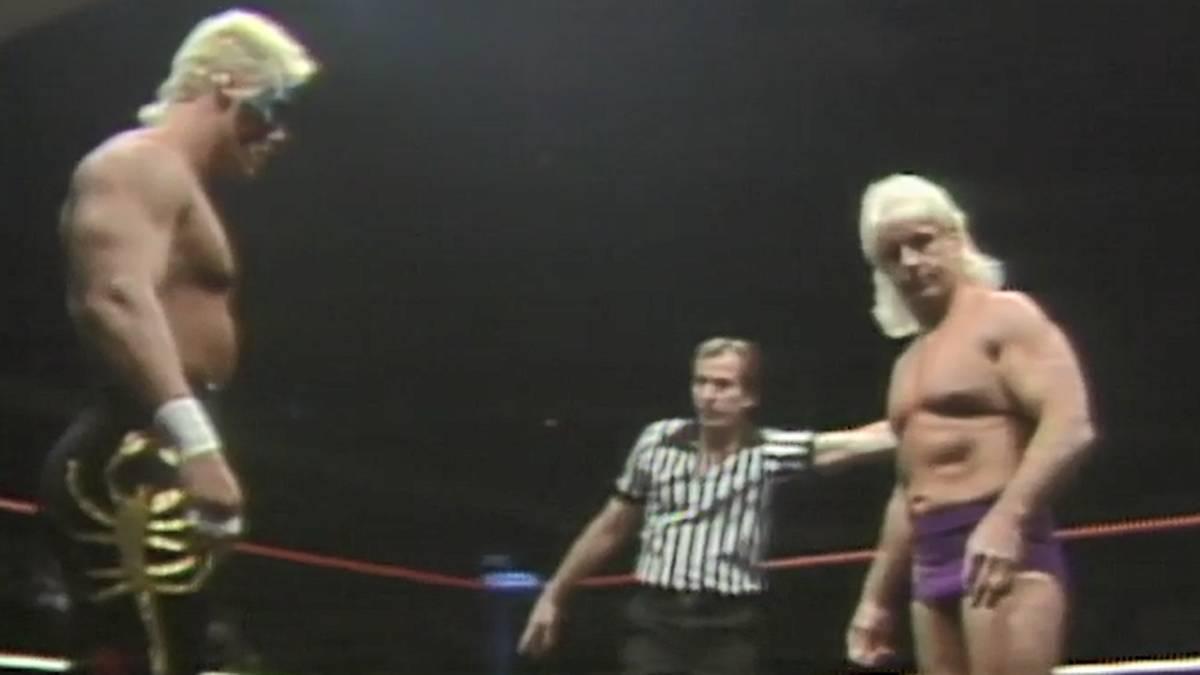 Sting (l.) und Ric Flair waren Stars bei Jim Crockett Promotions und der Nachfolge-Liga WCW