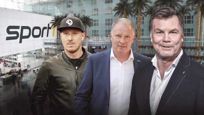 Mike Hanke (l.) und Stefan Reuter (M.) sind zu Gast im CHECK24 Doppelpass