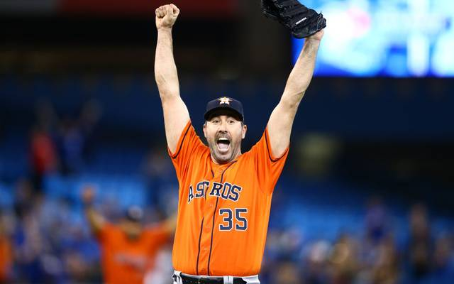TORONTO, ON - SEPTEMBER 01:  Justin Verlander #35 of the Houston Astros reacts after throwing a no hitter at the end of the ninth inning during a MLB game against the Toronto Blue Jays at Rogers Centre on September 01, 2019 in Toronto, Canada.  (Photo by Vaughn Ridley/Getty Images)