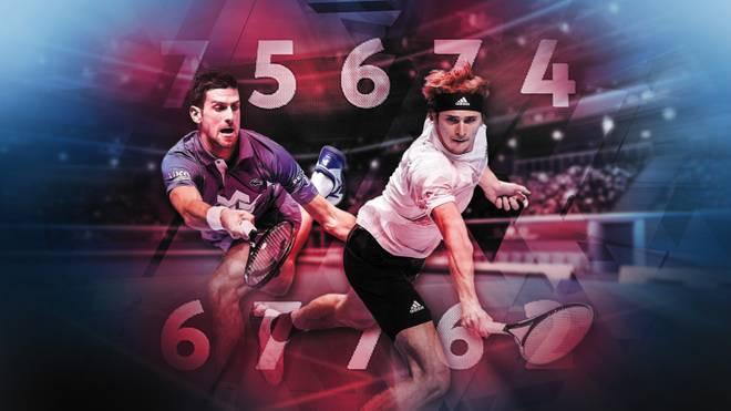 Novak Djokovic (l.) und Alexander Zverev sind bezüglich der Zukunft des Tennissports nicht einer Meinung