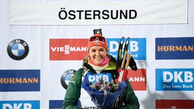 Denise Herrmann stand zum Saisonstart in Östersund zwei Mal ganz oben auf dem Podest