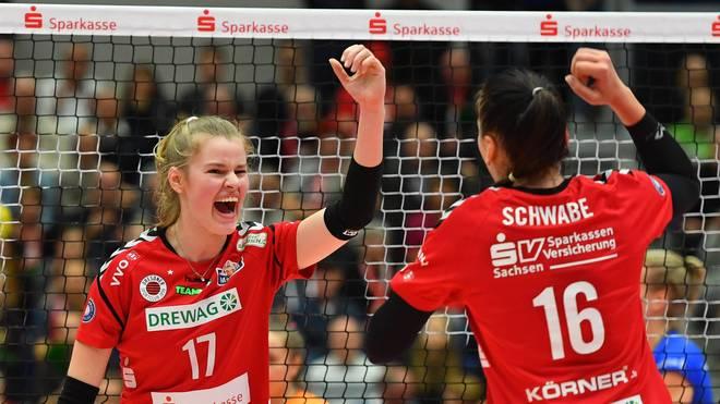 Die Damen des Dresdner SC treffen am 8. Spieltag der Volleyball-Bundesliga auf den USC Münster