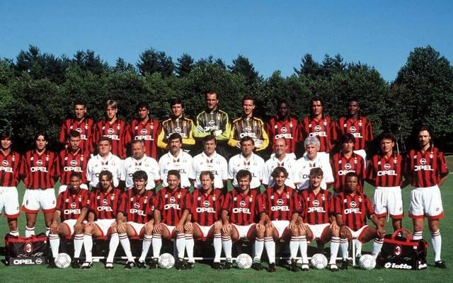 Angelo Pagotto (hintere Reihe, 6.v.l.) auf dem Milan-Mannschaftsfoto neben George Weah und Paolo Maldini