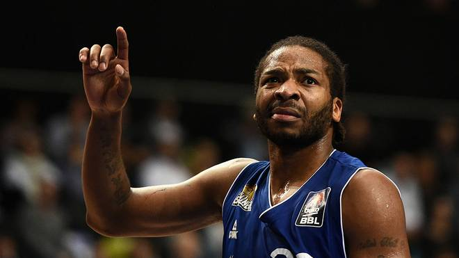 FRANKFURT AM MAIN, GERMANY - MARCH 24:  Quantez Robertson of Frankfurt Skyliners reacts during the Basketball Beko BBL match between Fraport Skyliners and Artland Dragons at Fraport Arena on March 24, 2015 in Frankfurt am Main, Germany.  (Photo by Dennis Grombkowski/Bongarts/Getty Images)