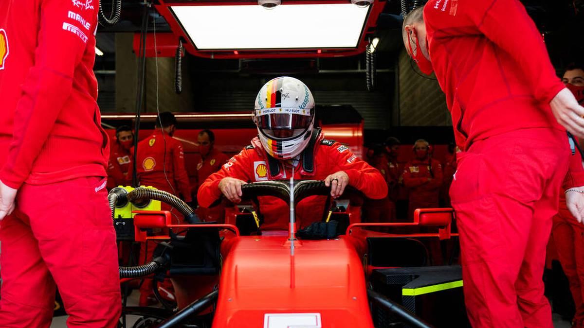 Sebastian Vettel steigt aus seinem langsamen Ferrari