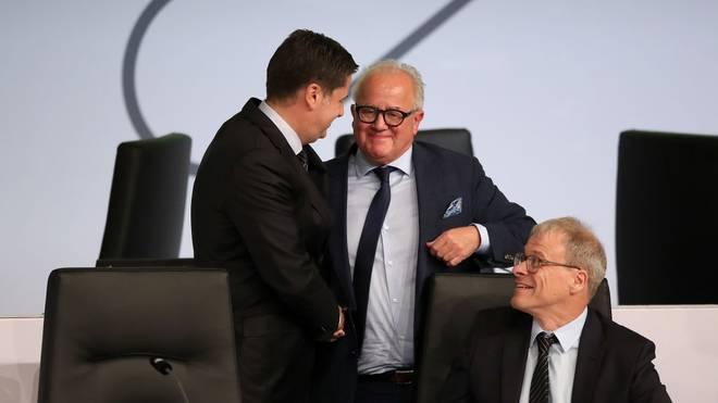 Christian Seifert (l.) und DFB-Präsident Fritz Keller wollen sich gemeinsam für die Corona-App einsetzen