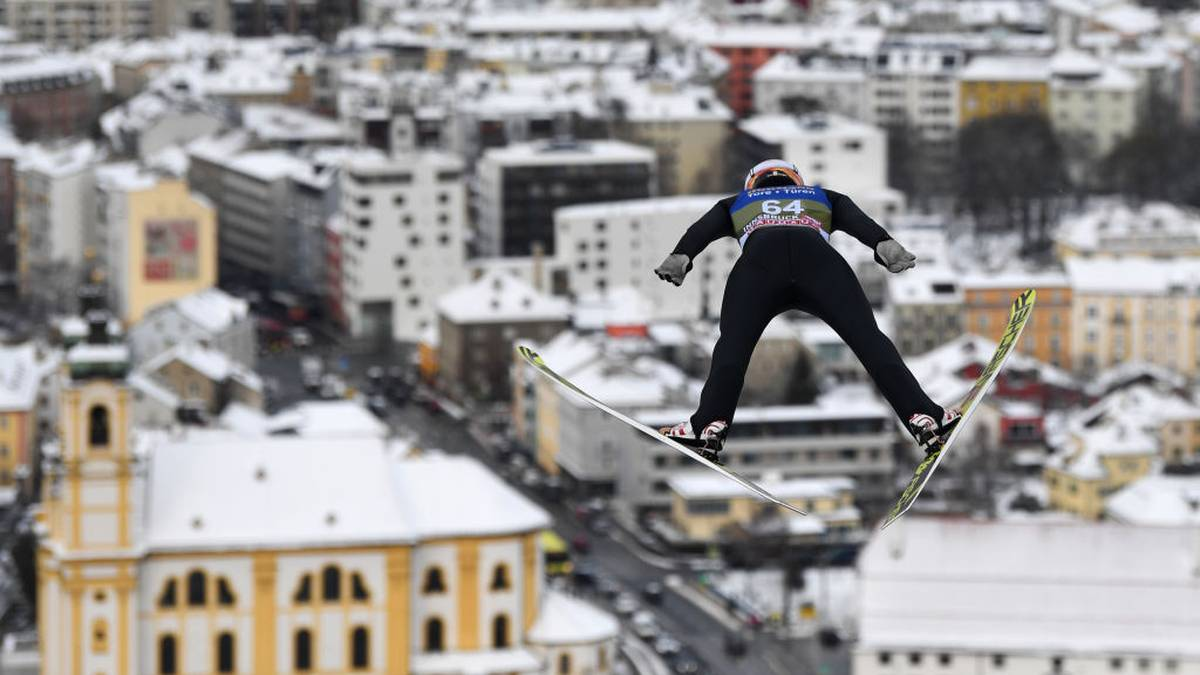Germany's Karl Geiger soars through the air during his trainings jump at the third stage of the Four-Hills Ski Jumping tournament (Vierschanzentournee), in Innsbruck, Austria, on January 3, 2019. - The third competition of the Four-Hills Ski jumping event takes place in Innsbruck, before the tournament ends in Bischofshofen (Austria). (Photo by Christof STACHE / AFP)        (Photo credit should read CHRISTOF STACHE/AFP via Getty Images)