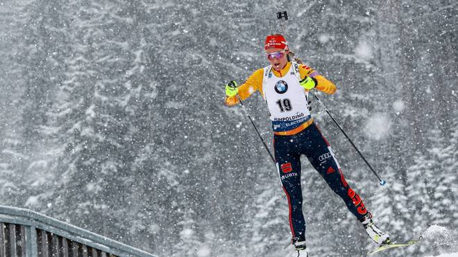 RUHPOLDING, GERMANY - JANUARY 19: Denise Herrmann of Germany in action during the IBU Biathlon World Cup Women's 10 km Pursuit Competition on January 19, 2020 in Ruhpolding, Germany. (Photo by Stanko Gruden/Agence Zoom/Getty Images)