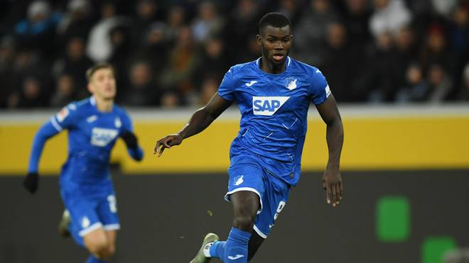 SINSHEIM, GERMANY - NOVEMBER 30: Ihlas Bebou  of Hoffenheim controls the ball during the Bundesliga match between TSG 1899 Hoffenheim and Fortuna Duesseldorf at PreZero-Arena on November 30, 2019 in Sinsheim, Germany. (Photo by Matthias Hangst/Bongarts/Getty Images)