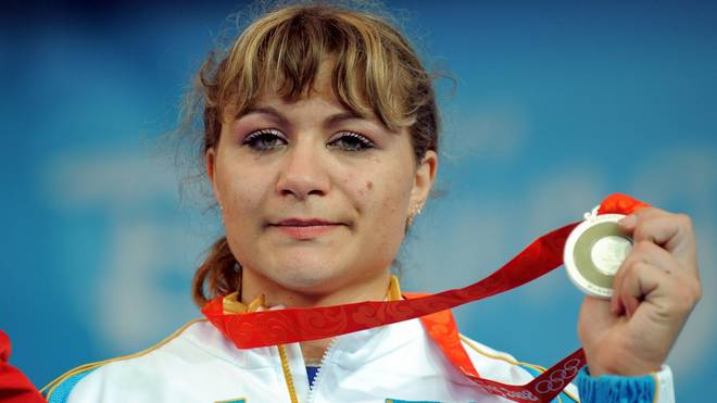 Silver medalist Irina Nekrassova of Kaza