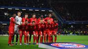 LONDON, ENGLAND - FEBRUARY 25: Bayern Munich line up prior to the UEFA Champions League round of 16 first leg match between Chelsea FC and FC Bayern Muenchen at Stamford Bridge on February 25, 2020 in London, United Kingdom. (Photo by Clive Mason/Getty Images)