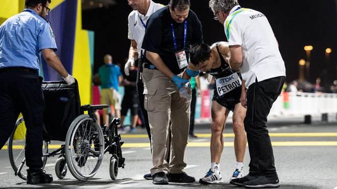 Nicht nur der Usbeke Andrey Petrov hatte mit den extremen Bedingungen in Doha zu kämpfen