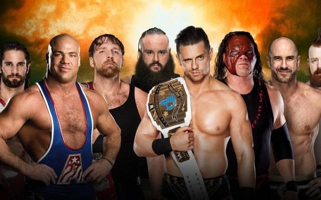 Seth Rollins, Kurt Angle und Dean Ambrose treffen bei WWE TLC 2017 auf Braun Strowman, The Miz, Kane, Cesaro und Sheamus (v.l.)