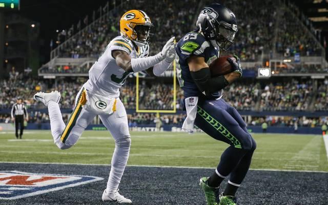 Doug Baldwin (r.) steuerte einen Touchdown zum Sieg der Seattle Seahawks gegen die Green Bay Packers bei