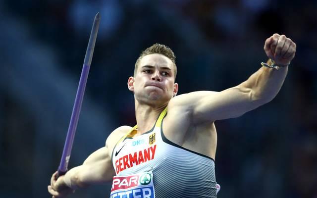 Johannes Vetter kämpft im Speerwurf um Gold