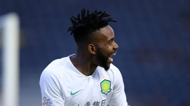 BURI RAM, THAILAND - APRIL 09: Cedric Bakambu of Beijing Guoan celebrates scoring the opening goal during the AFC Champions League Group G match between Buriram United and Beijing Guoan at Chang Arena on April 9, 2019 in Buri Ram, Thailand. (Photo by Pakawich Damrongkiattisak/Getty Images)