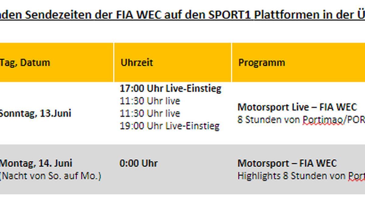 Die Sendezeiten der FIA WEC in der Übersicht