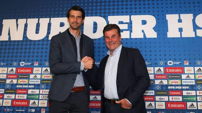 Jonas Boldt (l.) kann sich eine Zusammenarbeit mit Dieter Hecking (r.) in der 2. Bundesliga vorstellen