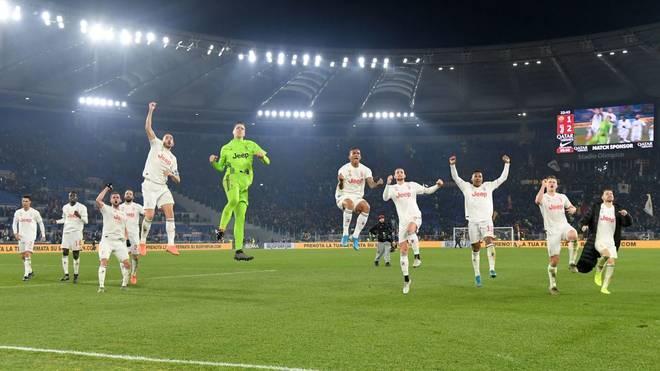 Juventus Turin feiert seinen Sieg in Rom