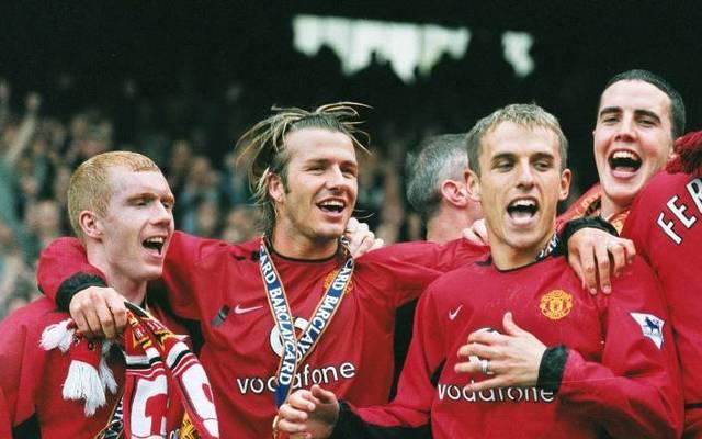 Phil Neville (2.v.r.) könnte bald wieder mit David Beckham zusammen arbeiten