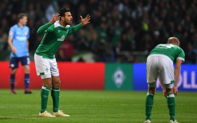 Bremen's Peruvian forward Claudio Pizarro reacts during the German first division Bundesliga football match Werder Bremen vs Bayer 04 Leverkusen in Bremen, nothern Germany, on October 28, 2018. (Photo by Patrik STOLLARZ / AFP) / RESTRICTIONS: DFL REGULATIONS PROHIBIT ANY USE OF PHOTOGRAPHS AS IMAGE SEQUENCES AND/OR QUASI-VIDEO        (Photo credit should read PATRIK STOLLARZ/AFP via Getty Images)