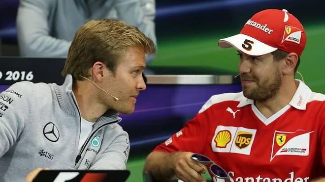 Einst Konkurrenten auf der Strecke: Nico Rosberg (li.) und Sebastian Vettel