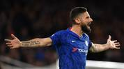 Chelsea's French striker Olivier Giroud gestures during the English Premier League football match between Chelsea and West Ham United at Stamford Bridge in London on November 30, 2019. (Photo by Ben STANSALL / AFP) / RESTRICTED TO EDITORIAL USE. No use with unauthorized audio, video, data, fixture lists, club/league logos or 'live' services. Online in-match use limited to 120 images. An additional 40 images may be used in extra time. No video emulation. Social media in-match use limited to 120 images. An additional 40 images may be used in extra time. No use in betting publications, games or single club/league/player publications. /  (Photo by BEN STANSALL/AFP via Getty Images)