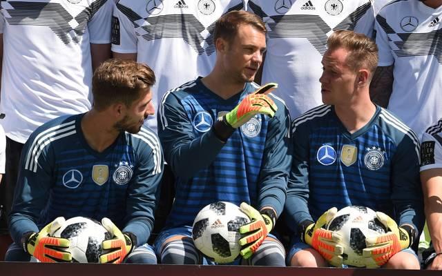 Kevin Trapp, Manuel Neuer und Marc-André ter Stegen (v.l.) bilden derzeit das Torwart-Trio der deutschen Nationalmannschaft