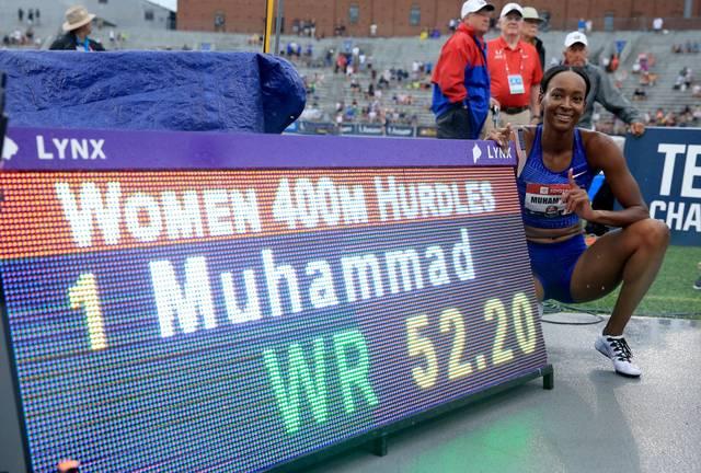 Dalilah Muhammad hält den Weltrekord der Frauen im 400-Meter-Hürdenlauf