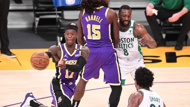 Dennis Schröder (l.) musste mit den Lakers gegen die Celtics eine Pleite hinnehmen