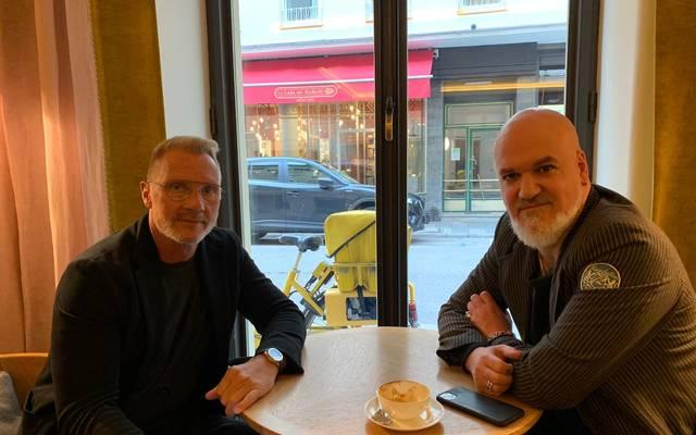 SPORT1-Reporter Reinhard Franke (r.) traf Thorsten Fink zum Interview