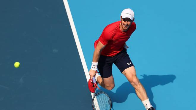 BEIJING, CHINA - OCTOBER 01:  Andy Murray of Great Britain in action against Matteo Berrettini of Italy during the Men's singles first round of 2019 China Open at the China National Tennis Center on October 1, 2019 in Beijing, China.  (Photo by Lintao Zhang/Getty Images)