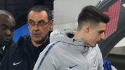 Chelsea's Italian head coach Maurizio Sarri (L) and Chelsea's Spanish goalkeeper Kepa Arrizabalaga arrive back on the pitch after half-time during the English Premier League football match between Chelsea and Tottenham Hotspur at Stamford Bridge in London on February 27, 2019. (Photo by Glyn KIRK / AFP) / RESTRICTED TO EDITORIAL USE. No use with unauthorized audio, video, data, fixture lists, club/league logos or 'live' services. Online in-match use limited to 120 images. An additional 40 images may be used in extra time. No video emulation. Social media in-match use limited to 120 images. An additional 40 images may be used in extra time. No use in betting publications, games or single club/league/player publications. /         (Photo credit should read GLYN KIRK/AFP via Getty Images)