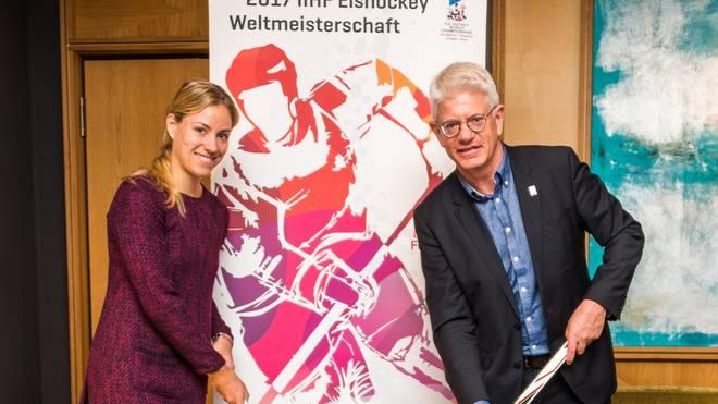 Angelique Kerber macht Werbung für die Eishockey-WM in Deutschland