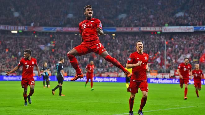 David Alaba jubelt über sein Tor gegen den FC Arsenal