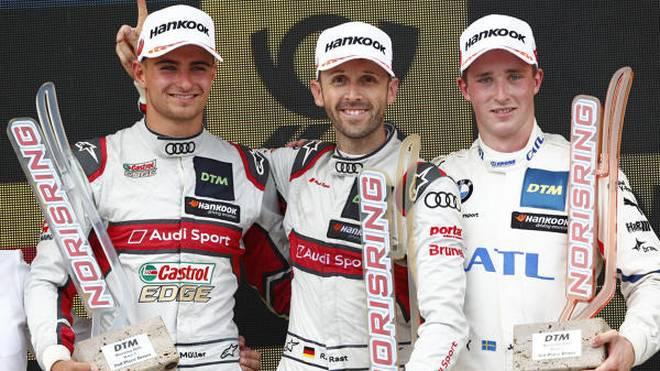 Nico Müller, Rene Rast und Joel Eriksson auf dem Norisring-Podium 2019