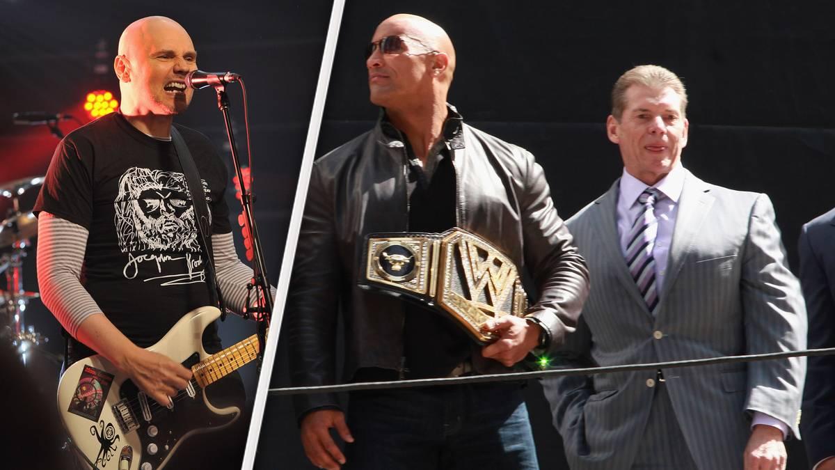 Kämpfen um TNA: Billy Corgan (l.) und WWE-Boss Vince McMahon (r., mit Ex-Champion The Rock)