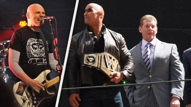 Kämpfen um TNA: Billy Corgan (l.) und WWE-Boss Vince McMahon (r., mit Ex-Champion The Rock)