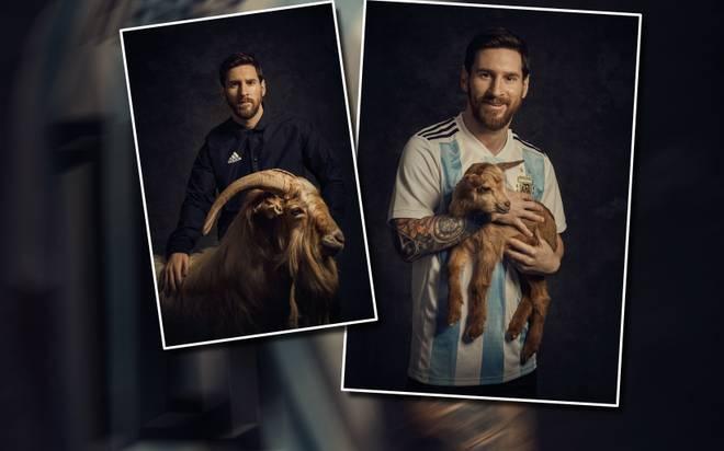 Lionel Messi posiert mit einer Ziege