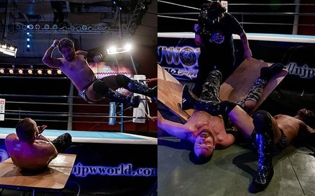 KENTA (links springend) und Jon Moxley lieferten bei NJPW Strong viel Action
