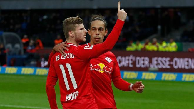 Leipzig's German forward Timo Werner celebrate scoring from the penalty spot with Leipzig's Danish forward Yussuf Poulsen during the German first division Bundesliga football match Hertha BSC Berlin v RB Leipzig, at the Olymic Stadium in Berlin on November 9, 2019. (Photo by Odd ANDERSEN / AFP) / RESTRICTIONS: DFL REGULATIONS PROHIBIT ANY USE OF PHOTOGRAPHS AS IMAGE SEQUENCES AND/OR QUASI-VIDEO (Photo by ODD ANDERSEN/AFP via Getty Images)