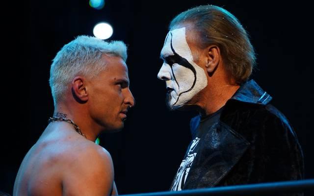 Beim Debüt für AEW traf Legende Sting (r.) auf Darby Allin