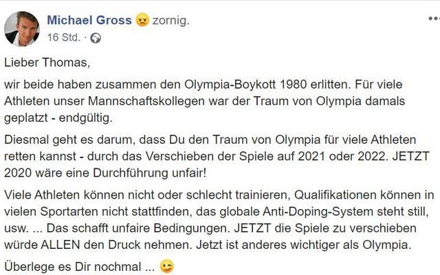 Michael Gross schreibt an IOC-Präsident Thomas Bach
