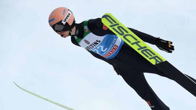 Germany's Karl Geiger soars through the air during his qualification jump at the Four-Hills Ski Jumping tournament (Vierschanzentournee) in Garmisch-Partenkirchen, southern Germany, on December 31, 2019. (Photo by Christof STACHE / AFP) (Photo by CHRISTOF STACHE/AFP via Getty Images)
