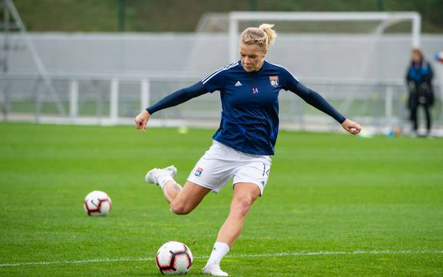 LYON, FRANCE - OCTOBER 30: #14 Ada Hegerberg of Olympique Lyonnais warms up prior the UEFA Women's Champions League round of 16 match between Olympique Lyon and Fortuna Hjorring at on October 30, 2019 in Lyon, France. (Photo by Monika Majer/Getty Images)